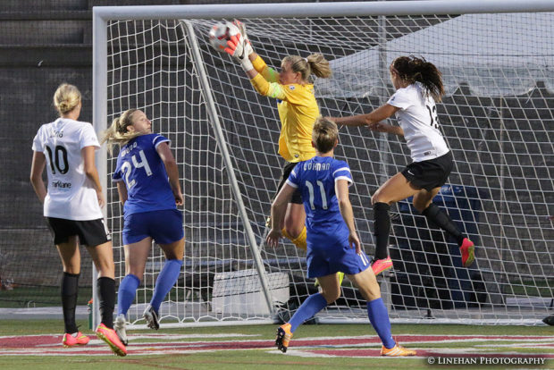Alyssa Naeher won the Germany round of the goalkeeper competition. But Ashlyn Harris is waiting. (Photo Copyright Clark Linehan for The Equalizer)