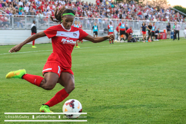 Crystal Dunn will be seeing a lot of her national team buddy Kelley O'Hara this weekend. (Photo Copyright Erica McCaulley for The Equalizer)