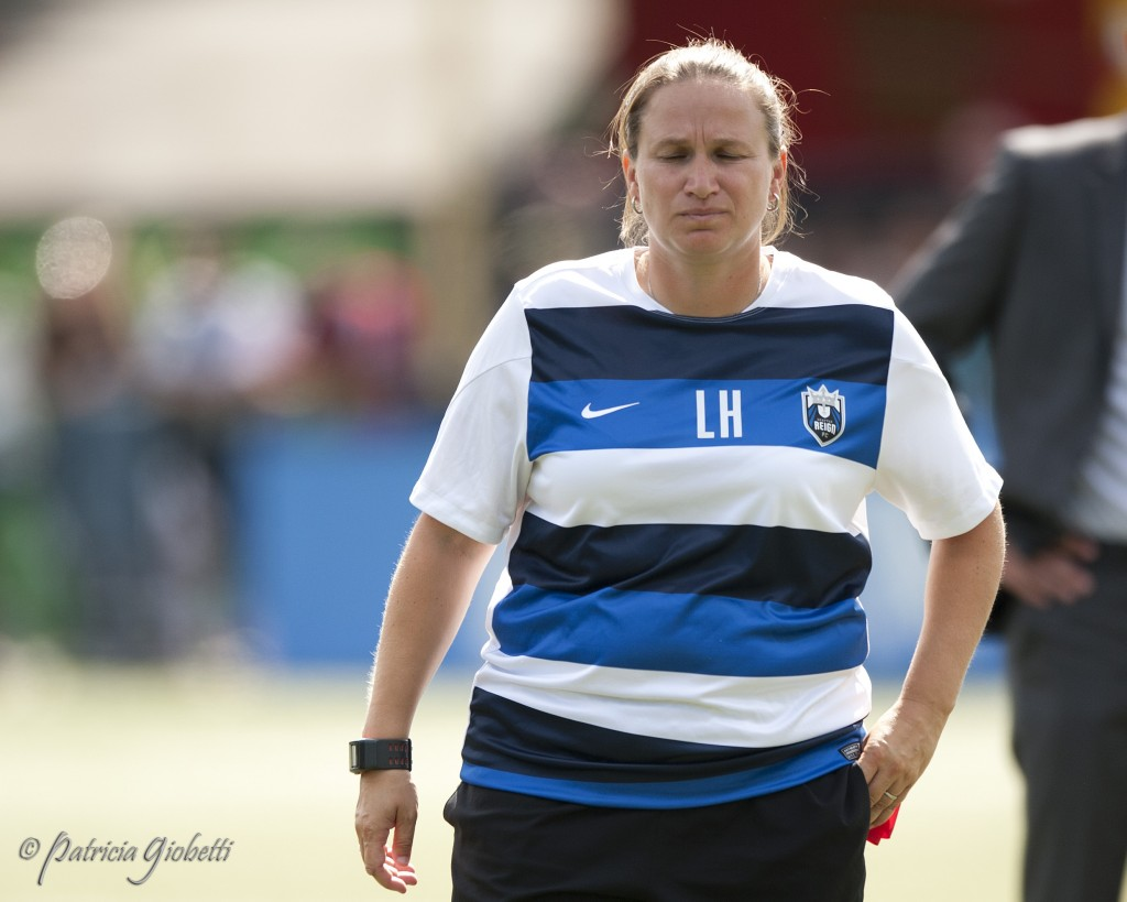 Laura Harvey walks off the field following Seattle Reign FC's NWSL Championship match loss to FC Kansas City. (Photo Copyright Patricia Giobetti for The Equalizer)