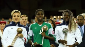 L-R: Claire Lavogez (France), Asisat Oshoala (Nigeria) and Griedge Mbock Bathy (France) all starred at the U-20 WWC. (Getty Images)