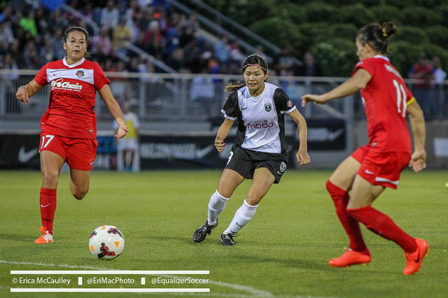 Nahomi Kawasumi made the jump from Japan to Seattle and quickly took blended her game with the Reign's. (Photo Copyright Erica McCaulley for The Equalizer)