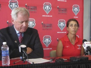 Kit Vela (right) will not be retained as New Mexico coach after 14 seasons. (August 20, 2014.     REUTERS/Joe Kolb)