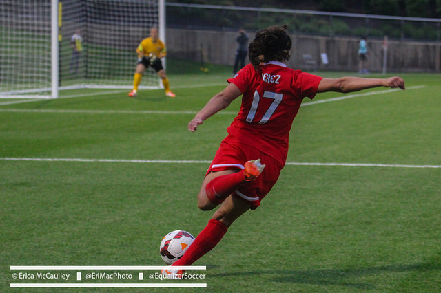 No. 17 is shared by both Veronica and Amanda Perez. Veronica wears it professionally for the Washington Spirit, and internationally for Mexico. (Photo Copyright Erica McCaulley for The Equalizer)