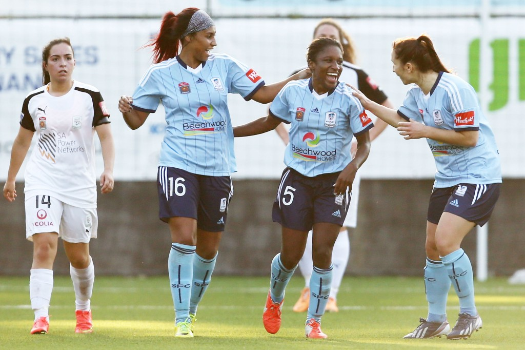 Jasmyne Spencer (center) was one of the W-League's best players for Sydney FC last season. (Getty Images)