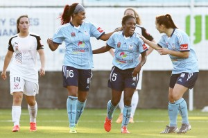 Jasmyne Spencer (center) scored twice in Sydney FC's season-opening win. (Getty Images)