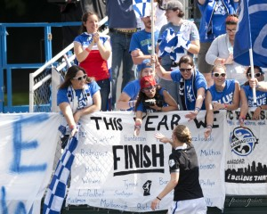 A few dozen FC Kansas City fans traveled to see their team beat Seattle. (Photo Copyright Patricia Giobetti for The Equalizer)