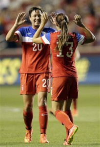 Abby Wambach (20) and Alex Morgan scored two goals each in an 8-0 whitewash of Mexico.  (AP Photo/Rick Bowmer)
