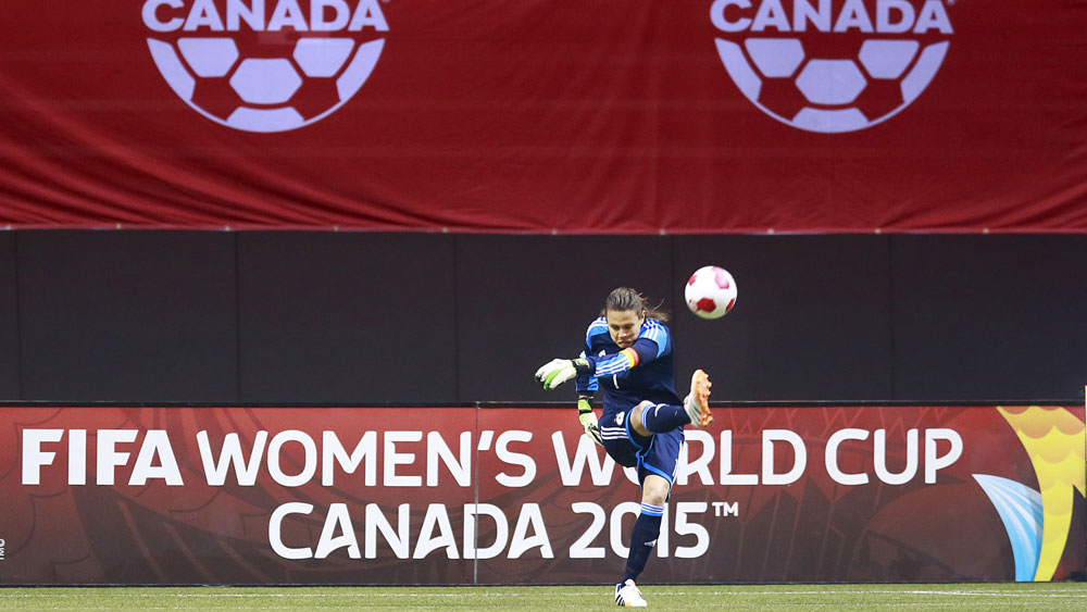 Germany goalkeeper Nadine Angerer, the reigning FIFA World Player of the Year, is among the group of players against turf at the 2015 Women's World Cup. She's seen here playing at BC Place in Vancouver, site of the World Cup final next July. (Getty Images)
