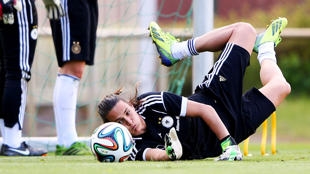 FIFA World Player of the Year Nadine Angerer, Germany's goalkeeper, is among a group of 40-plus players suing FIFA and the Canadian Soccer Association over gender discrimination. (Getty Images)