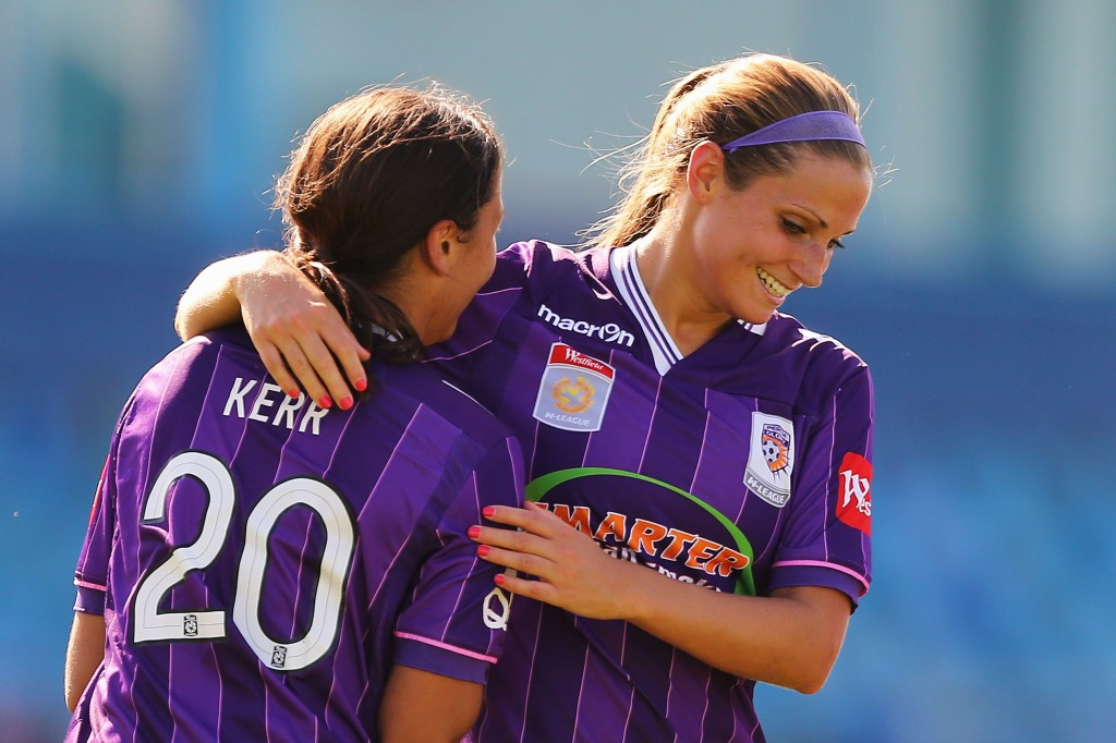 Shelina Zadorsky and Sam Kerr celebrate one of Perth Glory's goals. (Getty Images)
