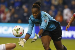 T&T goalkeeper Kimika Forbes made key saves all night vs. the USWNT. (Getty Images)