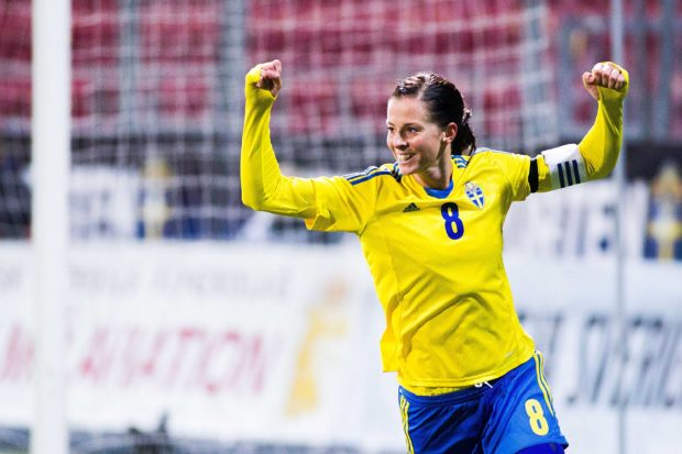 Veteran forward Lotta Schelin scored today's lone goal against Australia on opening day of the Algarve Cup (Getty Images)