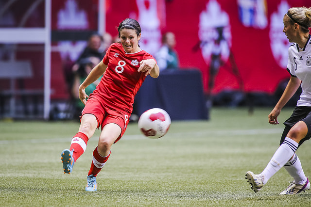 Diana Matheson has a torn ACL, putting her World Cup in doubt. (Photo: Canada Soccer)