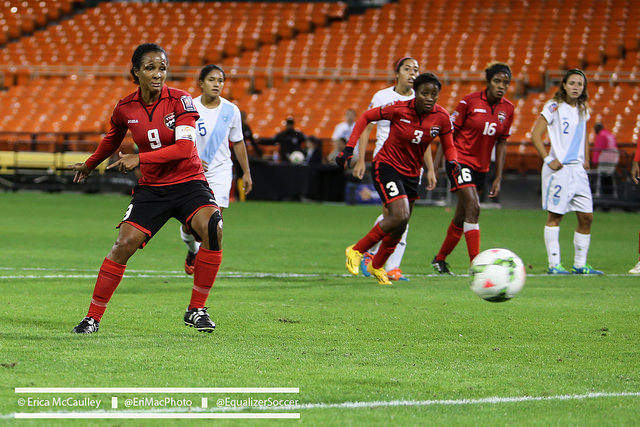 Maylee Attin-Johnson (No. 9) gets emotional thinking about Trinidad and Tobago qualifying for the World Cup. They are one win away. (Photo Copyright Erica McCaulley for The Equalizer)