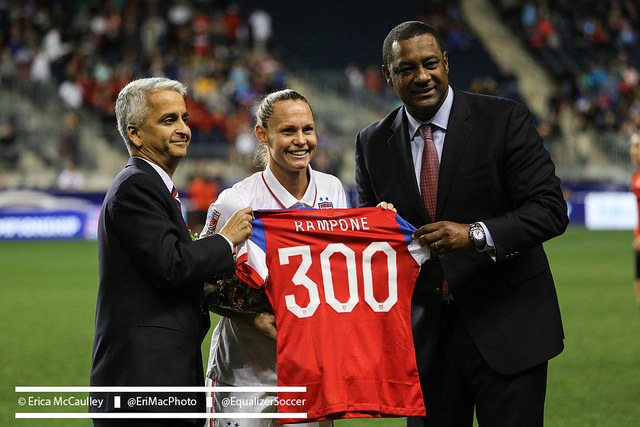 Christie Rampone being honored for her 300th cap during CONCACAF World Cup qualifying in 2014. (Photo Copyright Erica McCaulley for The Equalizer)
