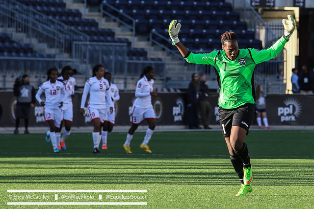 Goalkeeper Kimika Forbes leads Trinidad and Tobago against the United States in the semifinals of Olympic Qualifying. (Photo Copyright Erica McCaulley for The Equalizer)