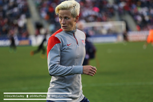Washington Spirit owner Bill Lynch played had his team play the national anthem while players were not on the field so that Megan Rapinoe (pictured) could not knee. (Photo Copyright Erica McCaulley for The Equalizer)