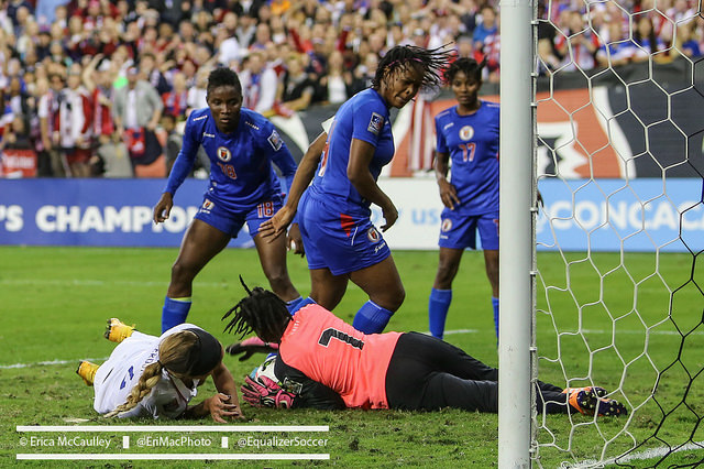 Haiti, seen here in action against the United States last October, will serve as the United States' opponent for two September matches after Australia pulled out of the games due to a player strike. (Photo Copyright Erica McCaulley for The Equalizer)