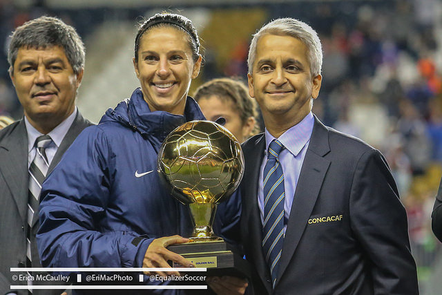 Carli Lloyd and U.S. Soccer president Sunil Gulati. U.S. Soccer announced Wednesday that it had filed a lawsuit against its women's national team. (Photo Copyright Erica McCaulley for The Equalizer)
