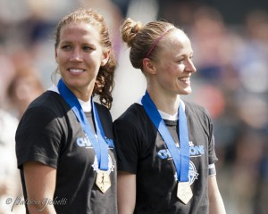 Lauren Holiday (left) would like to end her club career by repeating as NWSL champion. (Photo Copyright Patricia Giobetti for The Equalizer)