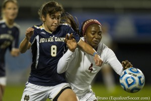 FSU's Jamia Fields battles Notre Dame's Sabrina Flores for the ball. (Photo Copyright Steve Bruno for The Equalizer)