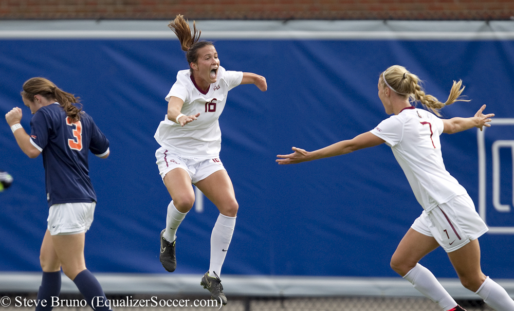 Carson Picket celebrates her game-winning goal in the ACC Final. (Photo Copyright Steve Bruno for The Equalizer)