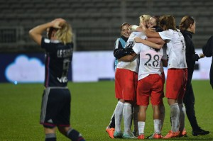 PSG beat Lyon on Wednesday to advance to the UWCL quarterfinals for the first time. (Getty Images)