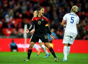 Celia Sasic scored twice for Germany in a 3-0 win over England. (Getty Images)