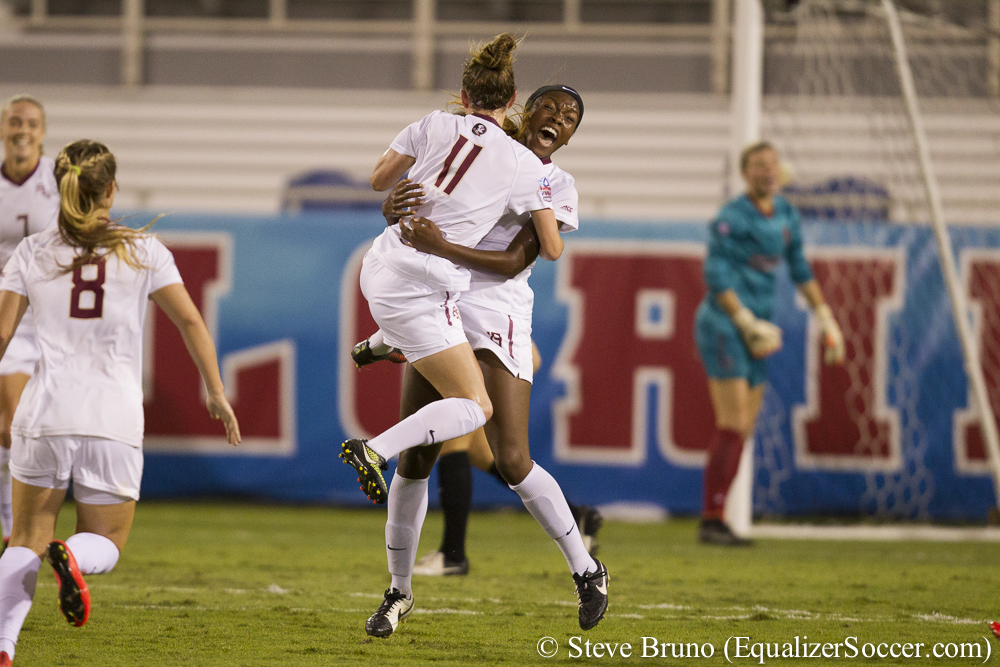 Florida State celebrates the first of Cheyna Williams' tow goals en route to a semifinal win over Stanford. (Photo Copyright Steve Bruno for The Equalizer)