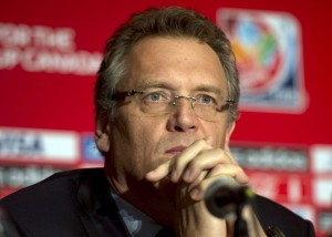 """Jerome Valcke says calling artificial turf at the Women's World Cup discriminatory is """"nonsense."""" (AP Photo)"""