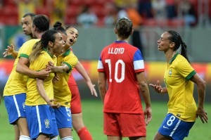 Marta scored a hat trick to beat the United States on Sunday. (Getty Images)