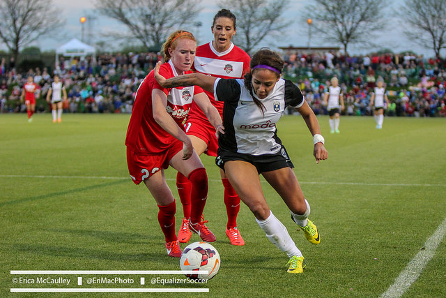 Tori Huster (left) joins the USWNT for the first time on a trip to France and England. (Photo Copyright Erica McCaulley for The Equalizer)