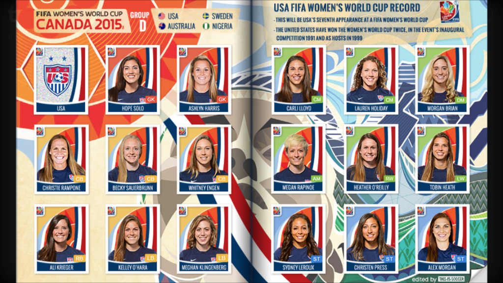 A mock-up of what the USWNT's Panini sticker set could look like. (Photo Credit: this-is-soccer.tumblr.com)