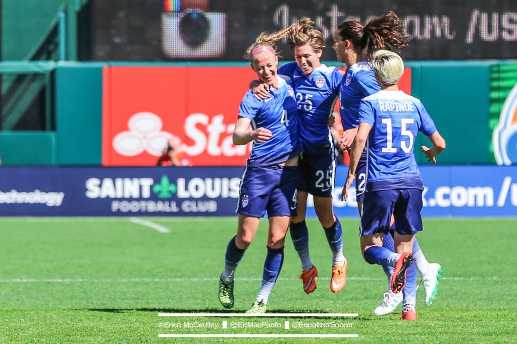 Meghan Klingenberg celebrates her opening goal in the U.S. women's national team's 4-0 win over New Zealand. (Photo Copyright Erica McCaulley for The Equalizer)