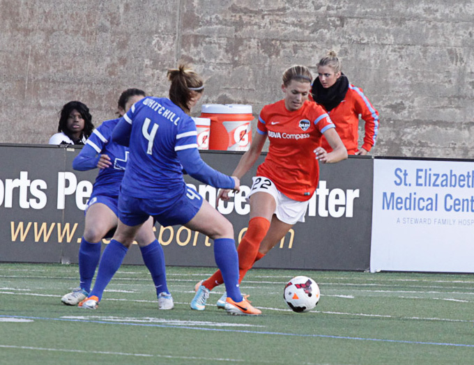 Stephanie Ochs, in Orange, who was waived by the Dash in April has just signed with the North Carolina Courage (Photo Copyright Clark Linehan for The Equalizer)