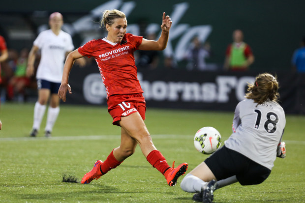 Allie Long gets her first goal of 2017 with a header in the 82nd minute against the Reign on Saturday. (Photo: David Blair - Portland Thorns FC)