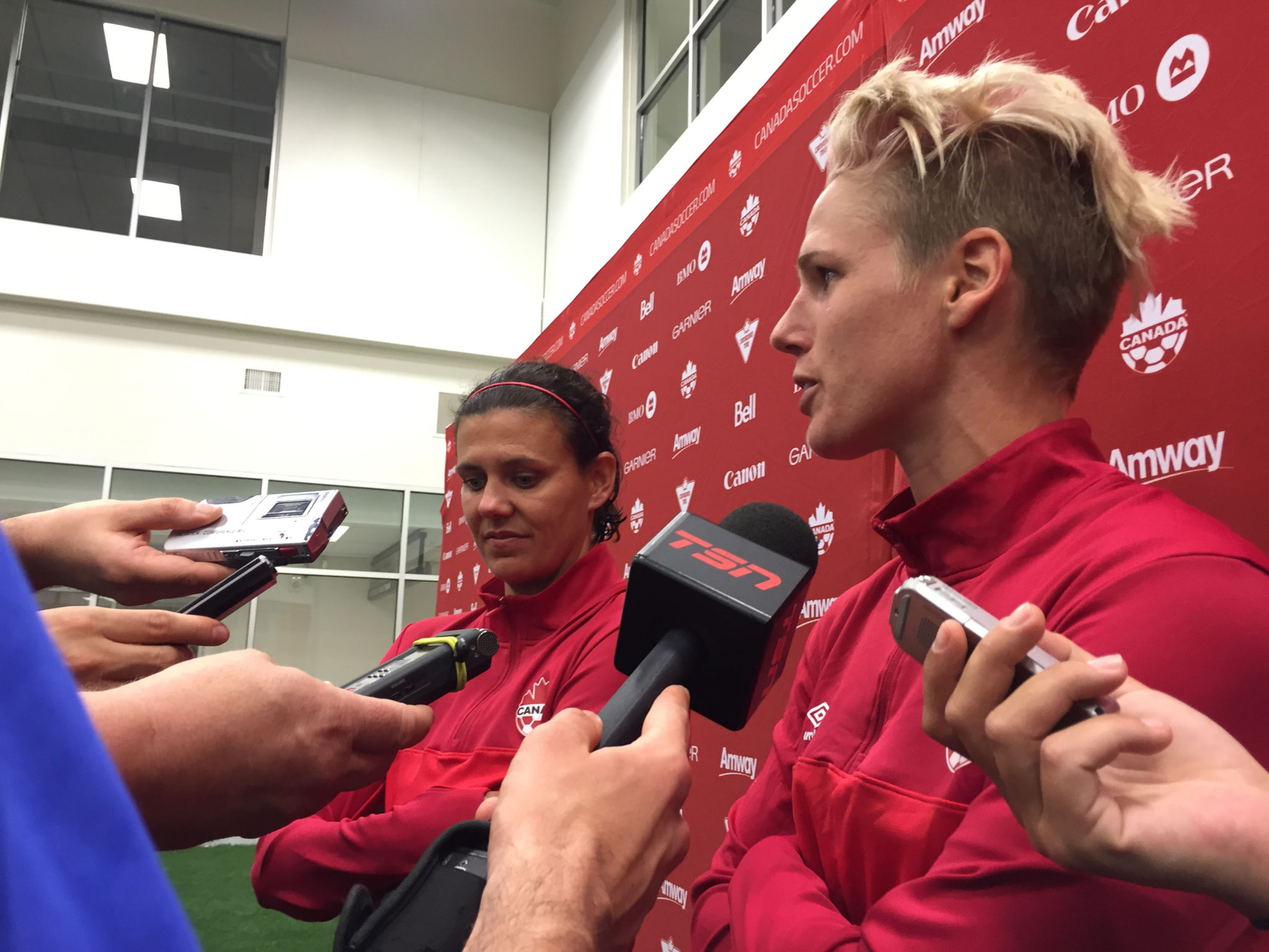 Sophie Schmidt (right) scored to lift Canada past England in a friendly. (Photo Copyright Harjeet Johal for The Equalizer)