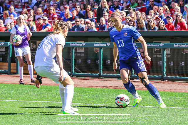 Alex Morgan says she'll be ready for the World Cup despite a bone bruise in her left knee. (Photo Copyright Erica McCaulley for The Equalizer)