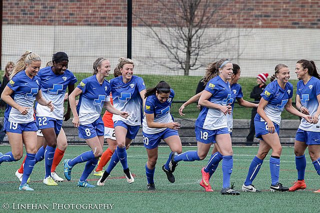 Julie King (8) and Kassey Kallman (5) looked solid as center back partners on Saturday in a 1-0 victory over Portland Thorns FC. (Photo Copyright Clark Linehan for The Equalizer)