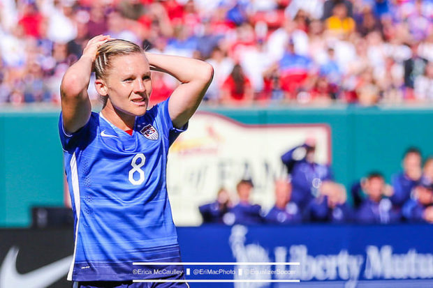 Amy Rodriguez tore her left ACL on Sunday, ending her 2017 NWSL season and comeback from pregnancy after a single match (Photo Copyright Erica McCaulley for The Equalizer)