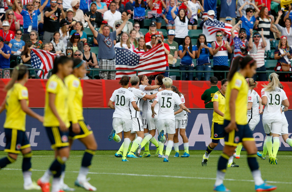 The USWNT defeated Colombia, 2-0 in the Round of 16 of the 2015 Women's World Cup. (Getty Images)