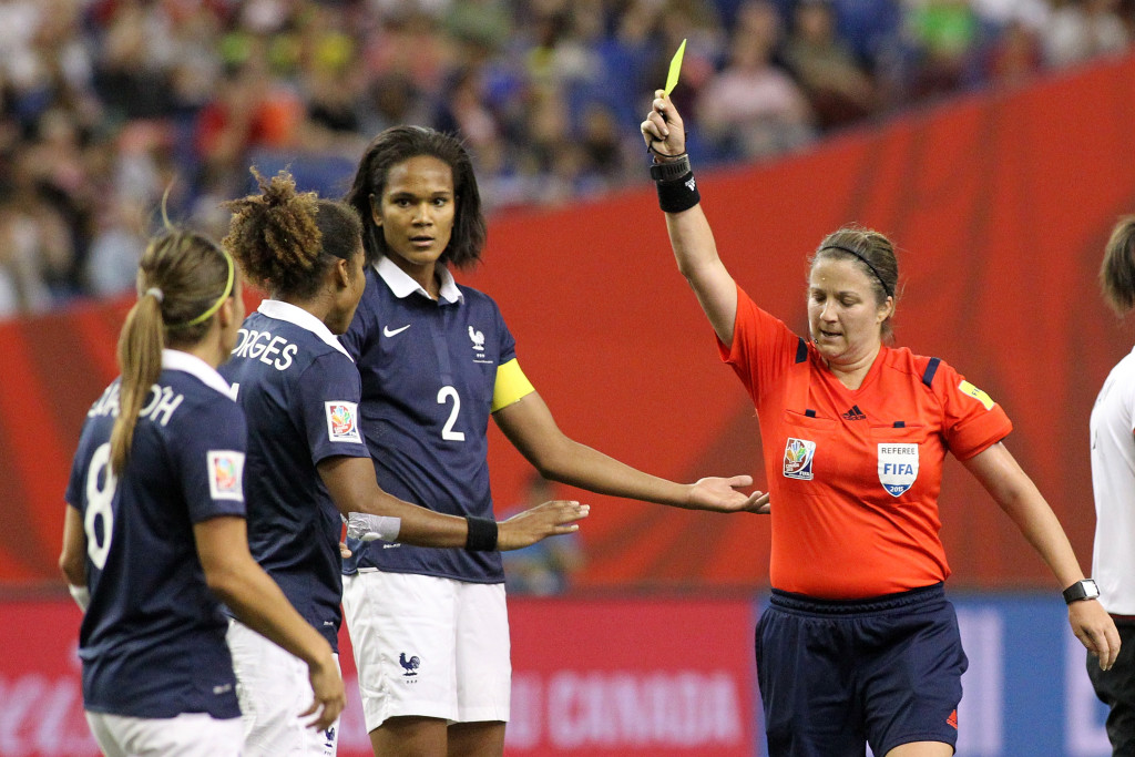 Referee Carol Anne Chenard was subject to criticism from outsiders for her performance in the France-Germany quarterfinal. (Getty Images)