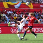 Lucy Bronze, left, scored the match-winner that took England to the quarterfinals.  (Getty Images)