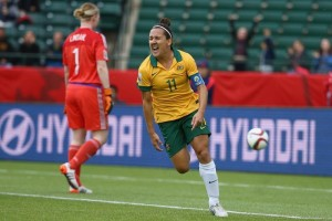 Lisa De Vanna celebrates her second goal of the World Cup.  This one helped Australia advance (Getty Images)