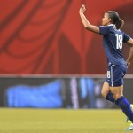 Marie Laure Delie celebrates her first goal Sunday against Korea Republic. (Getty Images)