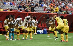 Gaelle Enganamouit scored a hat trick for Cameroon making their celebration dance a familiar site on Monday (Getty Images)