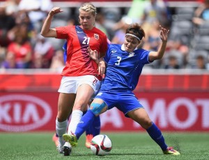 19-year old Ada Hegerberg gives away three years to every U.S. player.  Sunday she scored her first World Cup goal.  (Getty Images)