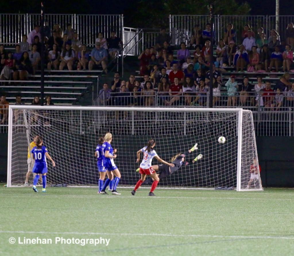 Christen Press scores the game-winning goal vs. Boston. (Photo Copyright Clark Linehan for The Equalizer)