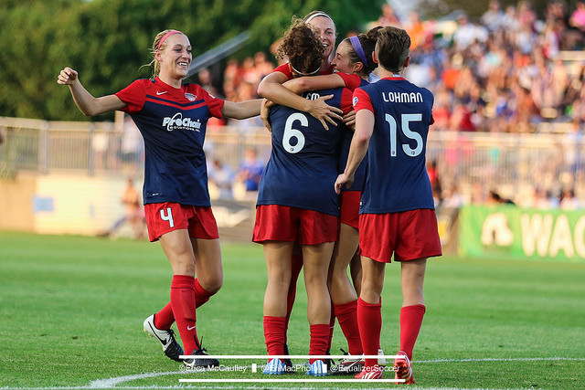 Megan Oyster (left) is having a breakout rookie season for the Washington Spirit. (Photo Copyright Erica McCaulley for The Equalizer)