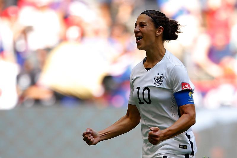 Carli Lloyd's goal from midfield is nominated for the 2015 FIFA Puskas Award. (Getty Images)
